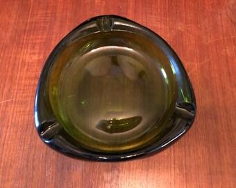 Vintage 1960s Viking Glass Green Tri-Corner Triangle Glass Cigar Ashtray