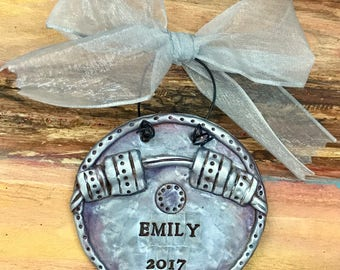 Keepsake Personalized Weightlifting / Gym / Barbell / Weight Polymer Clay Ornament