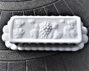 Westmoreland Milk Glass Butter Dish in Paneled Grape Pattern, White Glass Butter Dish With Grapes, Vines and Leaves.