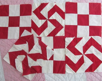 Lovely batch of SIX vintage hand stitched 9 and 16-patch quilt squares~Perfect for projects~Timeless red & white patchwork