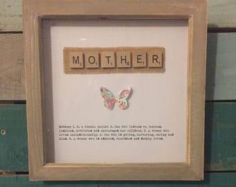 Scrabble letter tiles - friend, Mother, Nanny etc