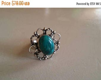 Holiday SALE 85 % OFF Turquoise  Size 5  Ring Gemstone. 925 Sterling  Silver