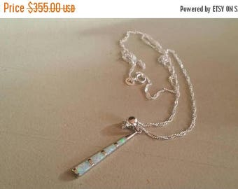 Holiday SALE 85 % OFF Australian Fire Opal Necklace  Chain penfant Gemstone  Sterling Silver