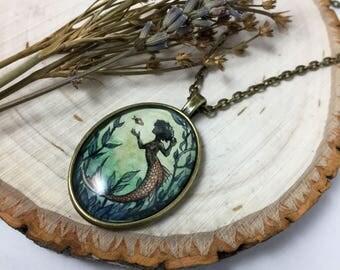 Yellow Mermaid_Handmade Oval Pendant