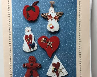 Felt Christmas Ornaments, Hand Sewed, Snowman ,Gingerbread, Heart, Apple, Christmas Tree, Applique Ornament Pattern, Instructions, Whimsical