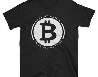 Bitcoin Mankind United In Crypto We Trust Short-Sleeve Unisex T-Shirt, BTC, HODL, Bitcoin shirt, BTC, crypto shirt