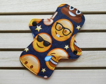 Emoji Cloth Panty Liner - Regular Fit Long Jersey Cloth Sanitary Pad, Cool Emojis, Face with Glasses, Washable Liner, Soft Jersey Cloth Pad
