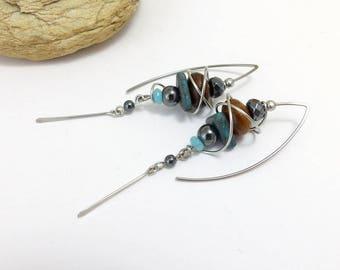 Ethnic earrings blue Brown grey large hooks