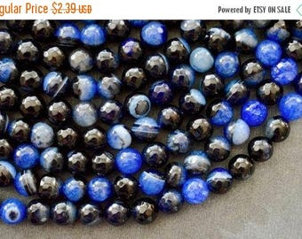 15% off SALE 8mm Agate Beads, Gemstone, 10 Beads,  Round Faceted Agate Stone Beads Multi Color Agate Black, Blue Stone Beads