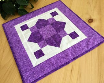 Sale Purple Quilted Table Runner Handmade Quilted Square Purple and White Patchwork Table Topper Free Shipping