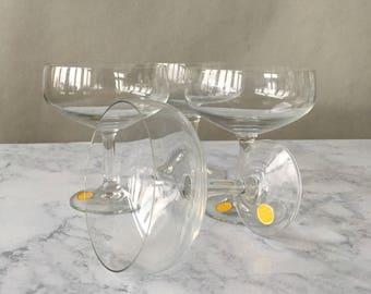 Vintage Champagne Coupes, Champagne Glasses set of 4 | crystal champagne glass, west germany crystal stemware, crystal cocktail glasses