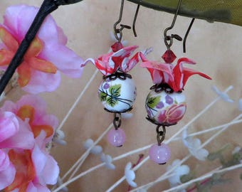Pink and Red crane origami earrings
