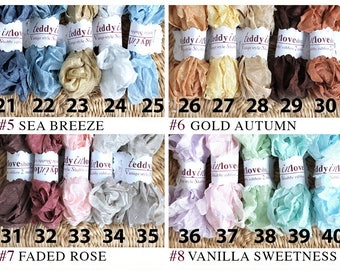Shabby ribbons set #5-8 - 5 colors each 2 meters