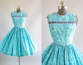 Vintage 1950s Dress / 50s Cotton Dress /Turquoise Floral Dress w/ Lavender Cut Out Yoke XS