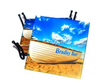 Bradely Beach NJ Coasters  / Ceramic Tile Drink Coaster(s) / Lifeguard Boat Coasters / Sold in Set of 4 or Individually /