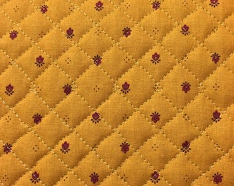 Cotton quilted double sided color ocher patterns Provencal same fabric on both side
