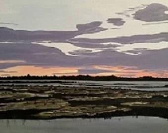 Bayou Sunset - Acrylic Painting - ready to ship!
