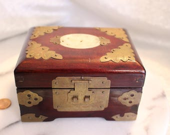 Vintage Rosewood Jewelry Box with Lid, Carved design on Lid,Brass Butterflies, Ring Box Gift Box