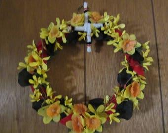 Brigids Cross Wreath, Wreath for Imbolc, Spring Wreath, Candlemas Wreath, Wall Decor for Imbolc, St. Brigids Cross, Spring Decor, Imbolc