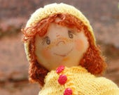 Handmade fabric soft doll for children up to 1.5 years Orange Rose Flannel Doll
