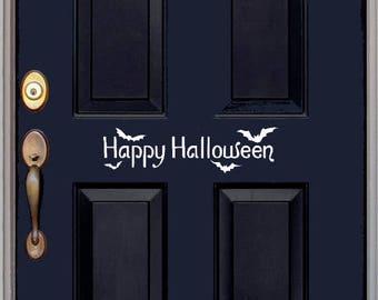 Halloween with Bats Door Decal