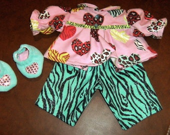 """16"""" Cabbage Patch Doll Clothes~3 pc. Animal print Hearts Pajamas/PJ's with Slippers"""