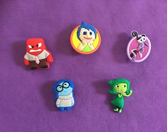 5-pc Inside Out Shoe Charms for Crocs, Silicone Bracelet Charms, Party Favors, Jibbitz