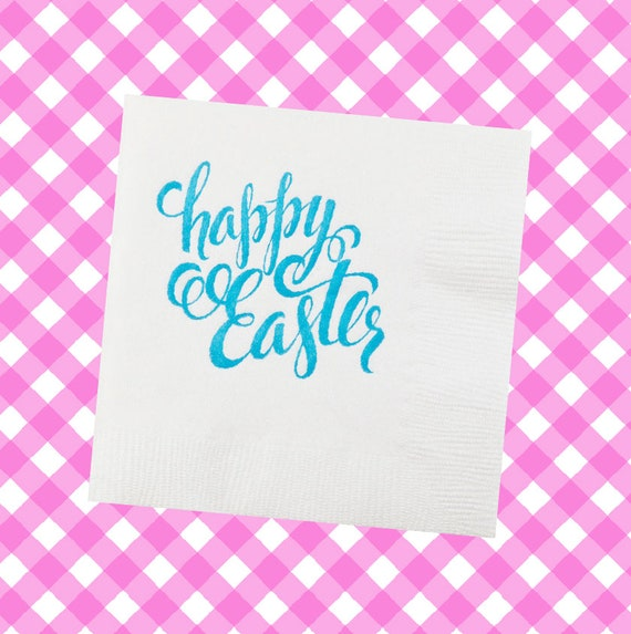 Easter napkins, Happy Eater napkins,  easter egg napkins, Easter egg hunt, Easter decorations, Easter gift, foil stamped napkins