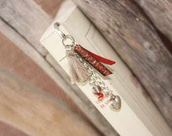 Bookmark tassel to customize red & taupe