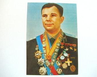 Yuri Gagarin, Soviet cosmonaut, Postcard, Space, Photo, Unused, Unsigned, Soviet Union Vintage Postcard, Print, made in USSR, 1982, 80s
