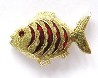 Golden Fish, Badge, Vintage collectible badge, Brooch, Pin, Made in USSR, 1980s