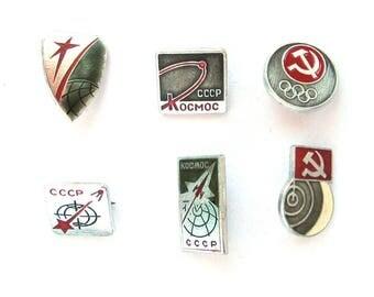 Set of 6 Soviet Space Badges, Vintage metal collectible badge, Spacecraft, Soviet Pin, Vintage Badge, Made in USSR, 1980s