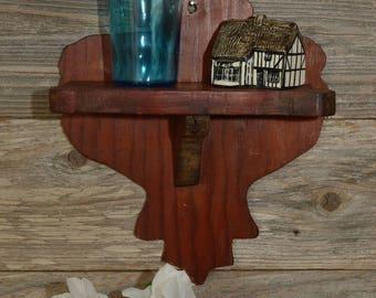 SMALL PRIMITIVE SHELF. An Old Imperfect, Handmade Wood Shelf.