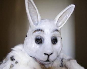 Masquerade mask Rabbit mask Hare mask Bunny mask Animal mask Paper mache mask Scary mask