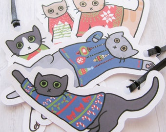 Ugly Sweater Cat Gift Tags, Ribbon Tie Cute Cat Stickers Gift Labels Present Tags Funny Cats Christmas Cats Holiday Tags Gift Marker