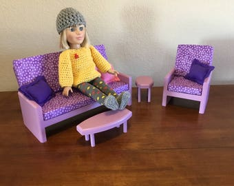 "Lavender living room, AG doll furniture, 18 in doll furniture, 18"" living room, 18"" doll couch, AG living room, doll chair, doll tables"