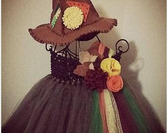 Scarecrow Costume, Scarecrow Tutu Dress, Wizard of Oz Scarecrow, Fall Tutu, Autumn Tutu, Floppy Scarecrow Hat, Fall Pageant Dress,