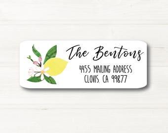 Lemon Blossom, Watercolor Style, Return Address Label, Custom, MATTE, Fruit, Festive, Branch, Leaves