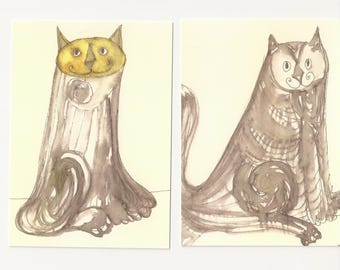 Cat postcard, set of two, from original ink drawing
