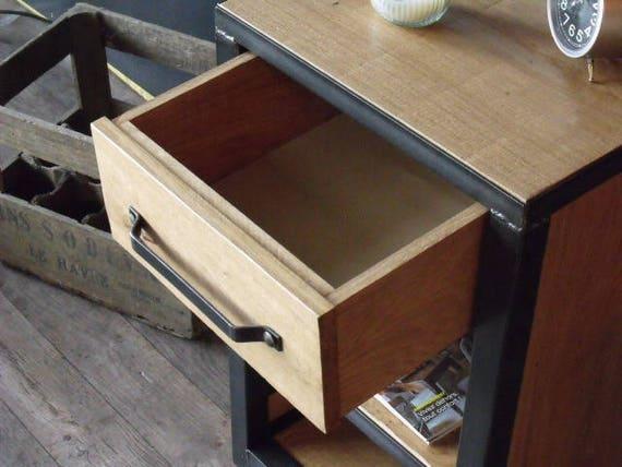 Table chevet bois métal style industriel