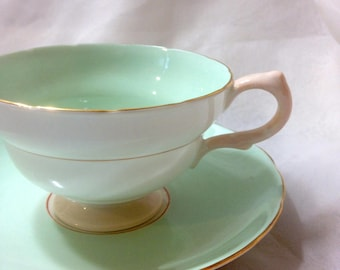 Teacup and Saucer, Minty Pastel Green and Mixed Floral Bouquet, Copelands Grosvenor China, England, vintage Tea Cup, SALE!