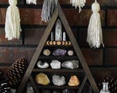 Moon Phases Engraved Triangle Crystal Display Shelf