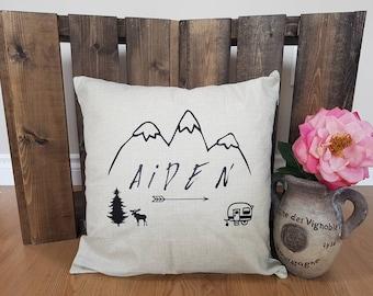 Custom pillow case. Outdoor, mountains, arrow, camper, moose.