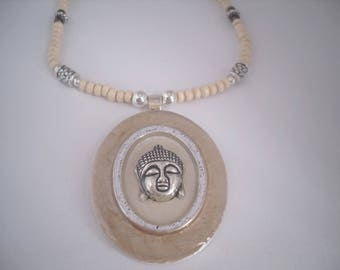 Oval Pendant beige natural/silver Buddha head handmade necklace