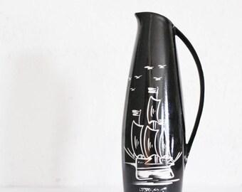 Vintage Vase Souvenir Ostsee schwarz weiß 50er 60er Segelboot Ostsee DDR