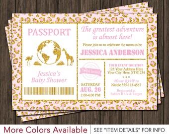 Safari Passport Baby Shower Invitation - Baby Pink and Gold