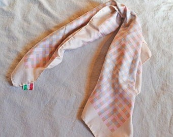 ON SALE: Vintage Scarf - Glentex, Pale Pink with Blue and Peach Checkerboard Pattern, 1970s, Made in Italy