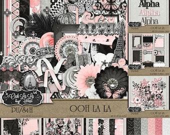 On Sale 50% Off Ooh La La Collection Digital Scrapbook Kit - Digital Scrapbooking