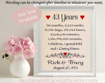 43rd Anniversary Gift for Wife 43rd Wedding Anniversary Gift for Husband Personalized Gift Husband Gift to Wife Gift to Husband (ana207-43)