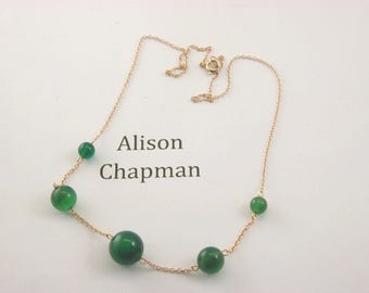 """Antique 16"""" 5 graduated green bead necklace"""